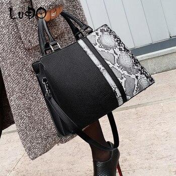 Fashion Python pattern Large Capacity Totes Bag Casual Snake Pattern Leather Women's Handbags Female Shoulder Messenger Bag