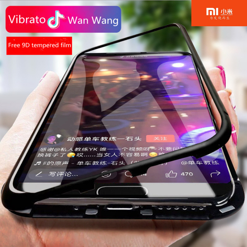 Double-sided metal magnetic For Xiao Redmi Note 5 6 7 8 9 Pro K20 K30 8 8A 7 7A Y3 8 8A 9S 9 Tempered Glass Back Cover With Film(China)