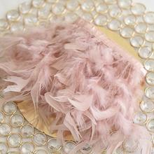 1 метр натуральная кожа розовый цвет перо индейки лента свадебное платье украшение шитье ремесла оптовая продажа