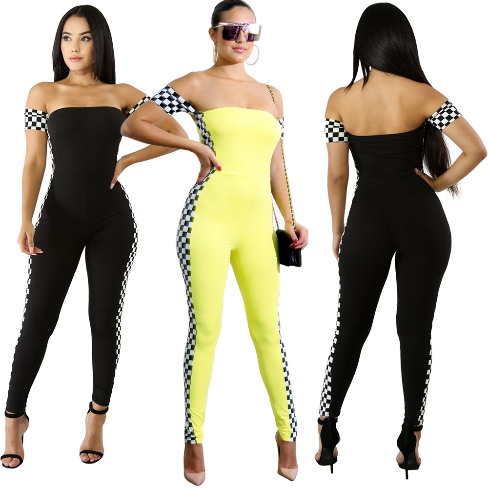 Hot Selling Europe And America-Wrap-around Printed Black And White Plaid With Sleeves Two-color Onesie Women's Summer S1016