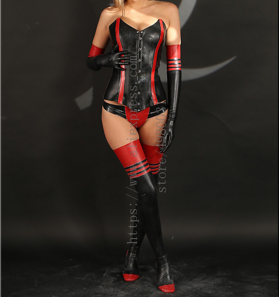 Women's whole suits including black thicken corset & briefs & long finger gloves & stockings decoratived with red trim color