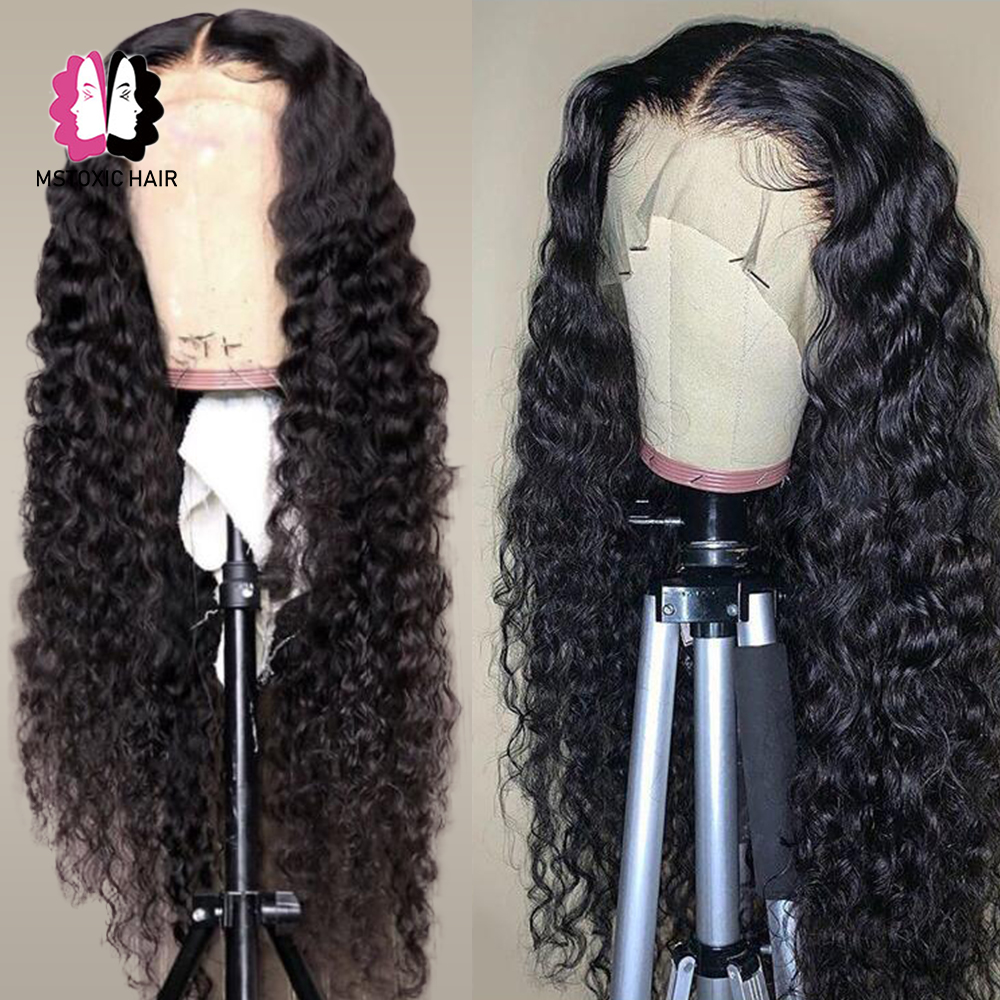 Mstoxic peruca brasileira da onda de água 360 peruca frontal do laço 13x4 frente do laço perucas de cabelo humano para preto 13x6 remy peruca encaracolada profunda