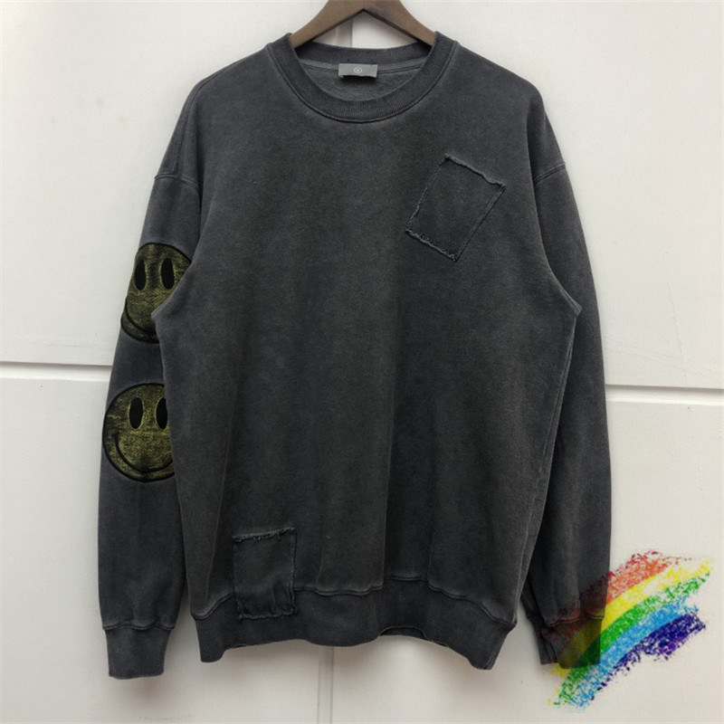 Smiley face Thick Washed Do Old embroider Sweatshirts Men Women Best Quality Hoodies Hip Hop Streetwear Casual Hoodie Hooded