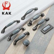 KAK Mediterranean Blue Ceramic Cabinet Knobs and Handles Gray Wardrobe Door Pulls European Furniture Handle Cabinet Hardware