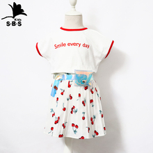New Designs Summer Short T-shirt Shorts Skirt Dress One Set Fashion Baby Girl Cotton Clothing Girls 2 3 4 5 6 Years Girl Clothes
