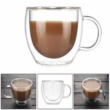 Двухслойная стеклянная термостойкая кофейная чашка с ручкой, высокая боросиликатная прозрачная инновационная Цветочная емкость, стеклянная чашка