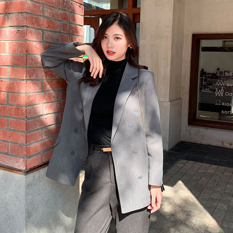 Drop Shipping Elegant Double-breasted Women Blazer Notched Collar Work Style Female Suit Jacket Casual Brief Blazer Outerwear