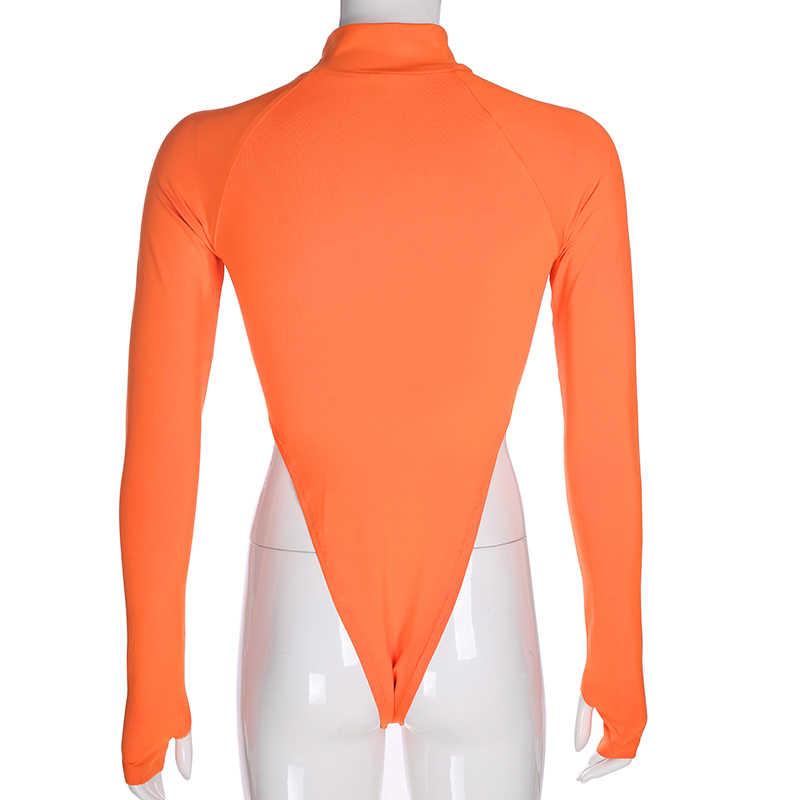 HEYounGIRL базовая с высоким, плотно облегающим шею воротником для тела Для женщин оранжевого и черного цвета с длинным рукавом боди с высокой талией сексуальное облегающее комбинезон женские осень-зима