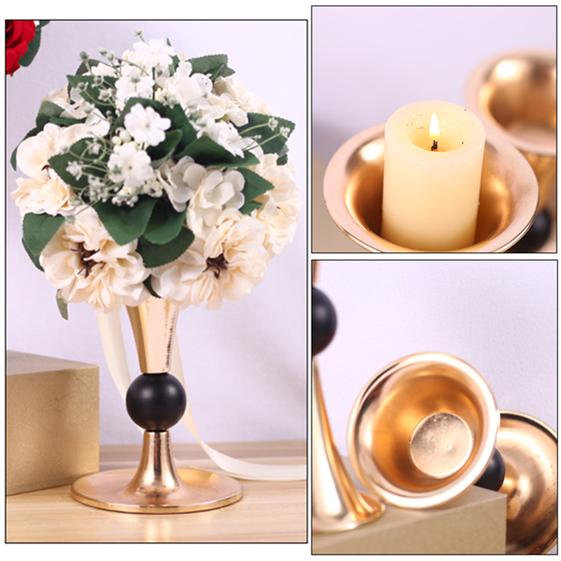 Gold Candle Holders 25cm Metal Candlestick Flower Vase Table Centerpiece Event Flower Rack Road Lead Wedding Decoration in Candle Holders from Home Garden