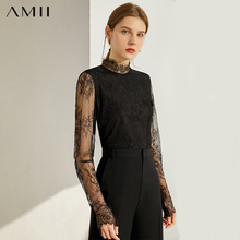 AMII Minimalism Autumn Fashion Lace Spliced Women Blouse Tops Turtleneck Full Sleeve Slim Fit Female Shirt Tops 12060088