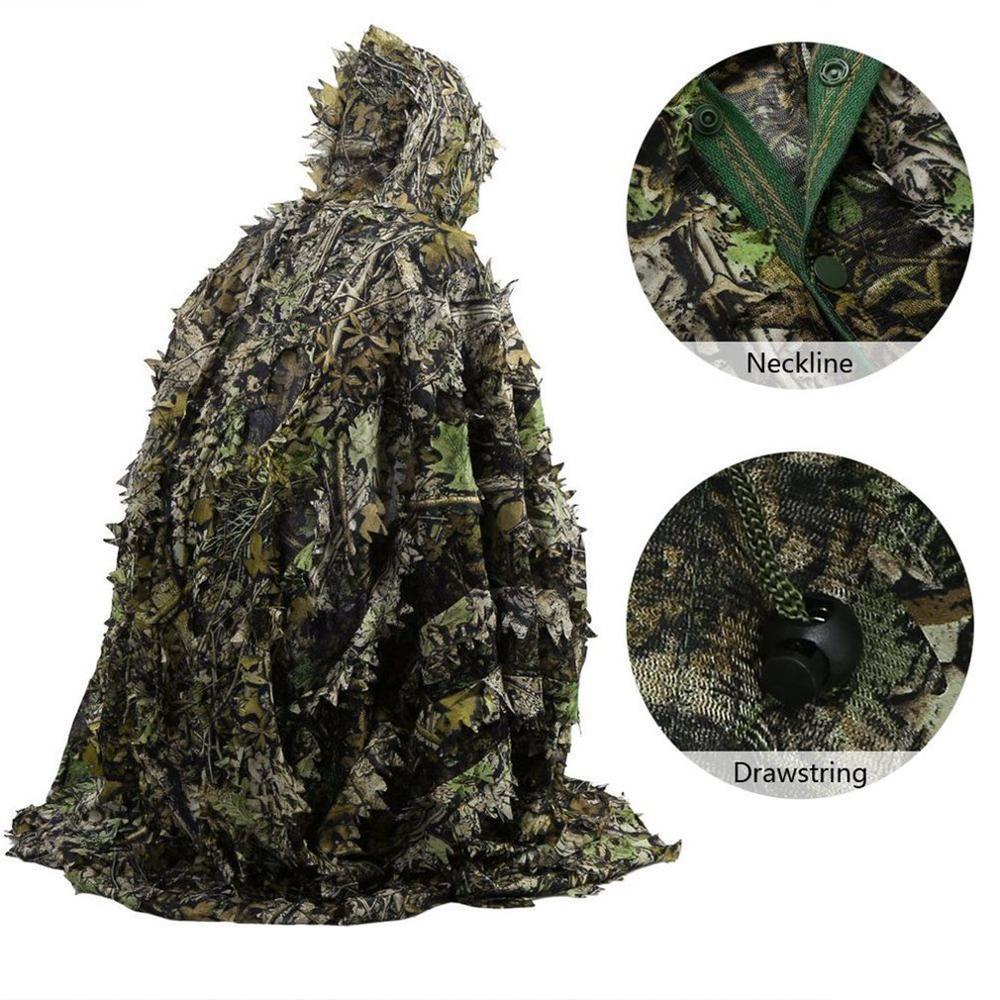 3D yaprak kamuflaj takım elbise sniper avcılık çekim giysileri ghillie suitmoro yaprakları panço pelerin Stealth pelerin uniforme militar