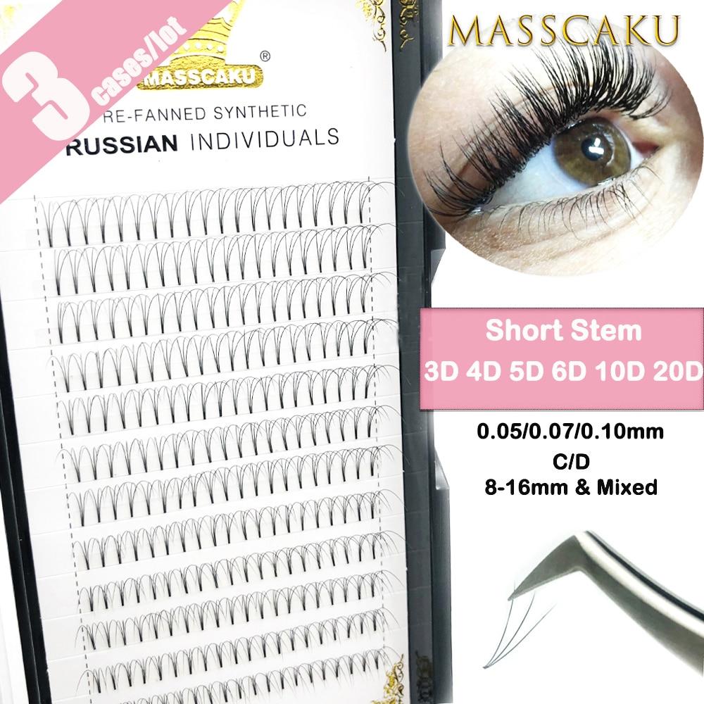 MASSCAKU 3cases/lot Premade Volume Fans Short Stem False Lashes Korea Silk Individual Eyelash Extension Handmade Natural Eyelash