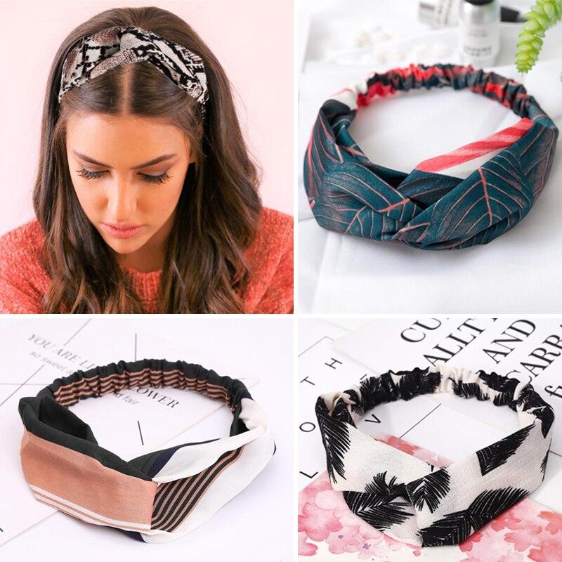 Women Headband Vintage Cross Knot Elastic Hair Bands Soft Solid Girls Hairband Hair Accessories