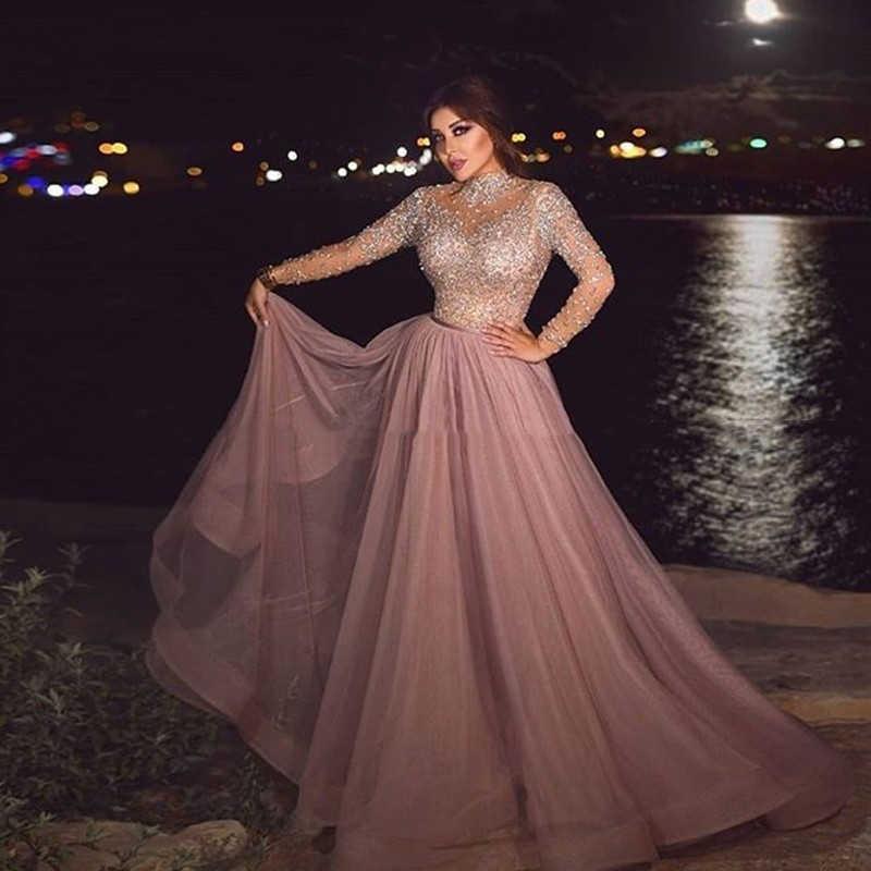 Роскошные основные бисером Саудовской Аравии Формальные Вечерние платья пыльные розовые кристаллы, блестки жемчужное платье для выпускного вечера трапециевидные платья с длинными рукавами