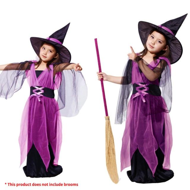 Kids Children Girls Halloween Witch Dress+Hat Children's Day Princess Party Dresses Carnival Cosplay Costume Halloween Costume 3