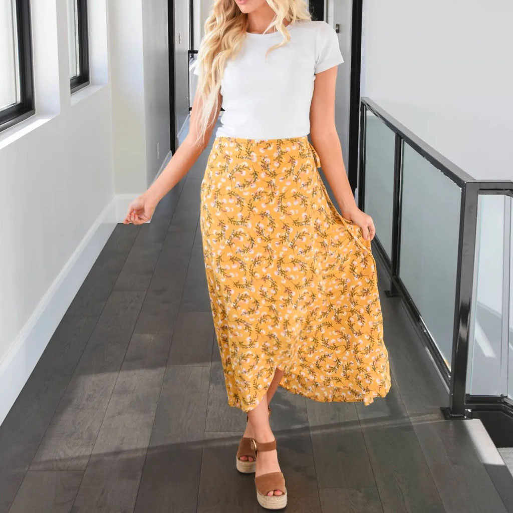 White Floral Print Pleated Midi Skirt Women Elastic High Waist Side Pockets Skirts Summer 2020 Elegant Female Bottom