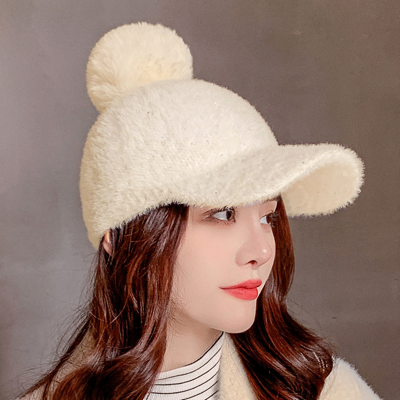 COKK Winter Hat Women Baseball Cap With Pompon Faux Fur Ball Cold Proof Thick Warm Solid Color Fashion Casual Gorras Female New 6