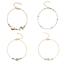 4 Pcs/ Set Trendy New Leaf Beads Creative Foot Chain Anklets Women Summer Beach Anklet Bracelet