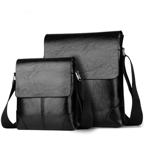 2 Sets Men Leather Bag For Men Crossbody Bag Fashion Male Shoulder Bags Men Famous Brand Design Leather Messenger Bag