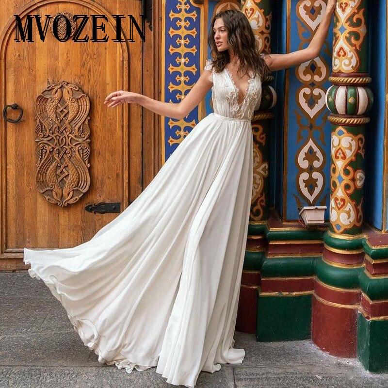 Bohe Wedding Dresses 2019 Lace Chiffon A-Line Deep V-Neck Sleeveless White Wedding Dress Court Train Bridal Gown Robe De Mariage