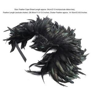Image 5 - Frauen Retro Vintage Gothic Natürliche Feder Cape Schal Stola mit Halsband Kragen für Maskerade Lagerfeuer Party Leistung Kostüm