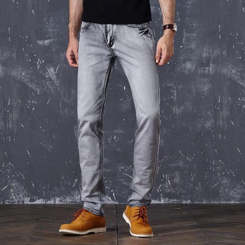 Vintage Jeans Men's 2020 Fashion Designer Clothing Bleached Straight Leg Denim Pants Grey Cowboy Trousers Male Old Retro Clothes