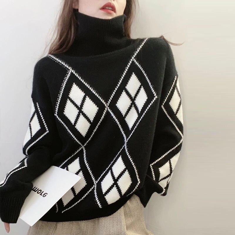 Женский винтажный свитер, вязаный пуловер с высоким воротником, свободная теплая одежда в Корейском стиле, Осень-зима 2020