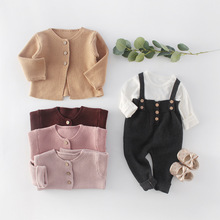 MILANCEL baby clothins spring new baby girls sweaters  single breast toddler boys knitwear