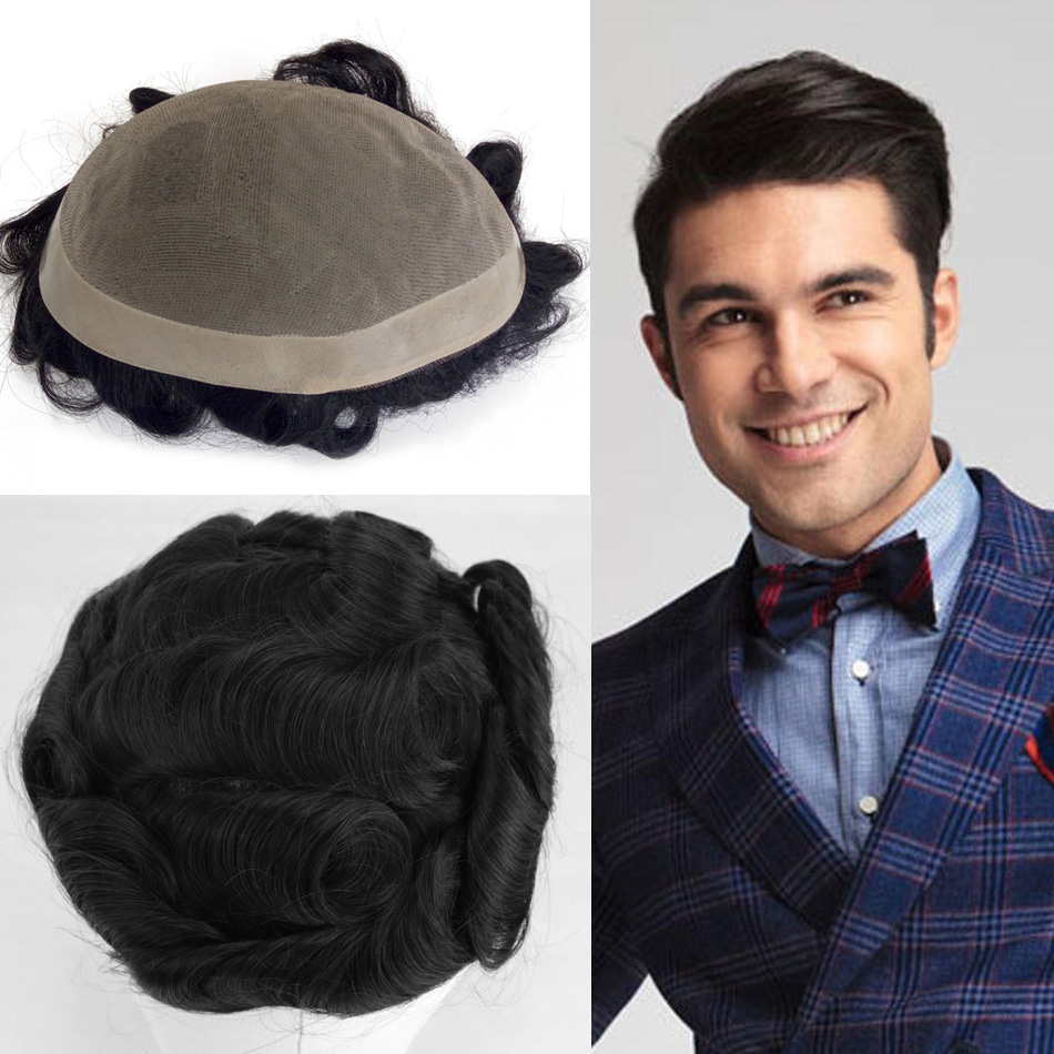 7*9 Human Hair Men Toupee Durable Hairpieces Indian Human Hair Replacement MONO PU Remy Natural Hair System For Males Men Wig
