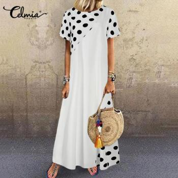 Celmia Women Bohemian Dot Printed Sundress Summer Long Dress Short Sleeve Casual Loose Beach Maxi Vestidos Plus Size Sarafans 7 plus size women half sleeve ruffles casual summer dress sexy o neck a line loose mini everyday dress sundress vestidos feminino