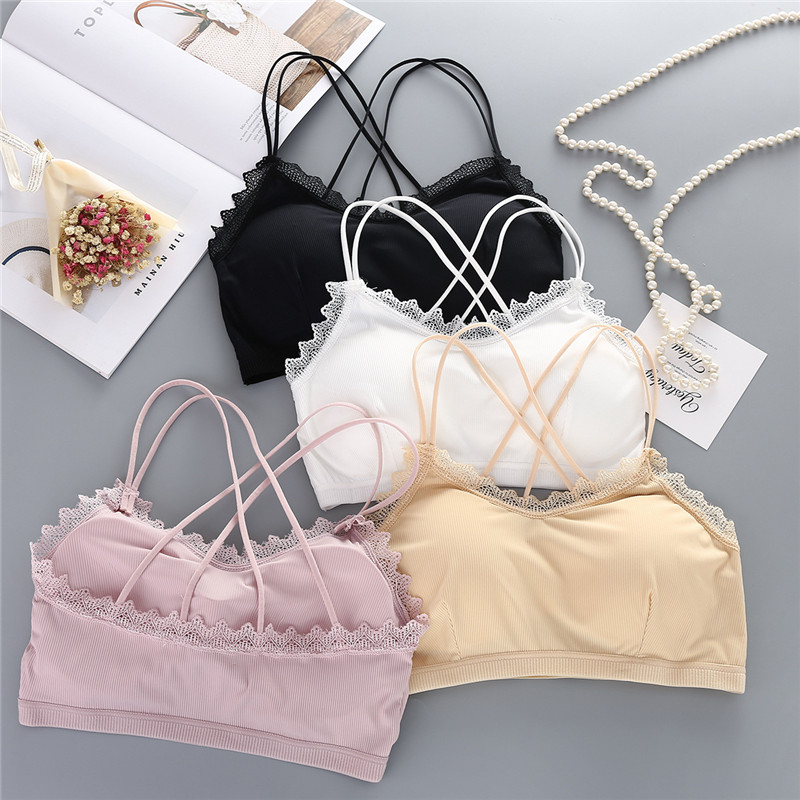 New Seamless Ice Silk Thread Wrapped Chest Female / United States Back Lace Cross The United States Back Bra Straps
