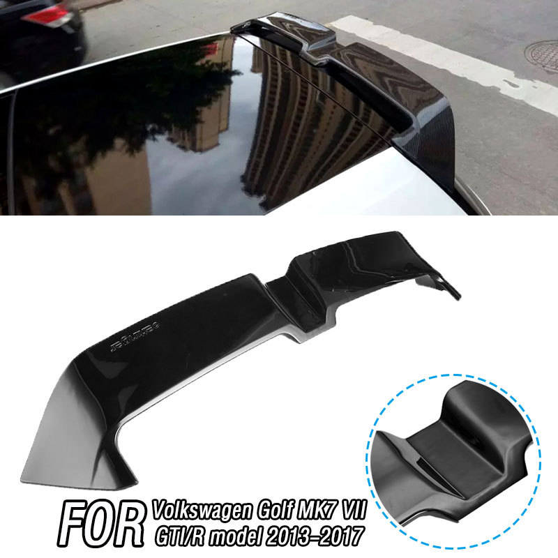 Carbon Rear Black Trunk Window ABS Roof <font><b>Spoiler</b></font> For <font><b>Volkswagen</b></font> <font><b>Golf</b></font> <font><b>MK7</b></font> VII GTI/R model 2013-2017 Style Window Tail Wings image