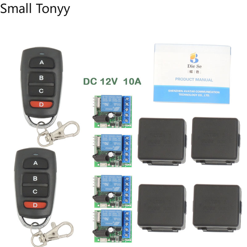 433MHz Universal Wireless Remote DC12V 10Amp 1CH 4 gangs rf Relay and Transmitter Remote Control 1527 learning security code image