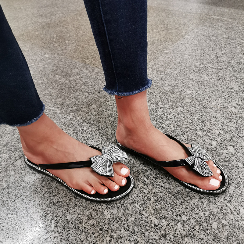 Women Flip-Flops Flash Drilling Sequins Slippers Summer Beach Flats Fashion Bow Jelly Shoes Woman Slides Zapatos De Mujer