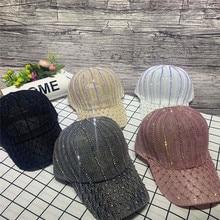 Ap Female Spring and Summer Breathable Cap, Korean Cotton and Hemp Baseball Cap, Mesh Cap with Diamond Travel Sunshade Hat
