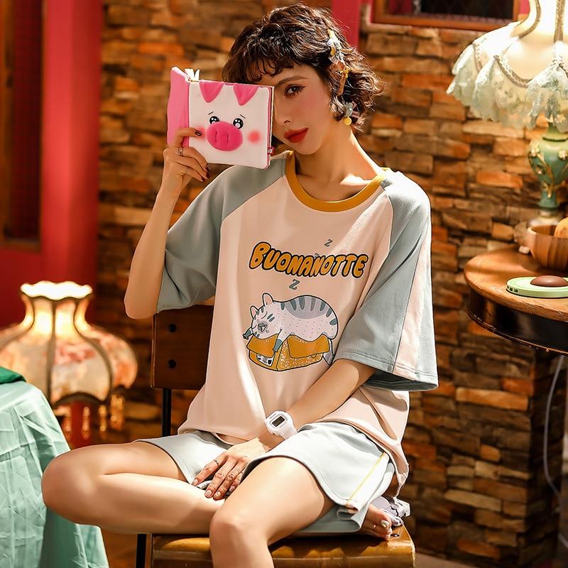 JULY'S SONG Cute Cartoon Pajamas Set Short Sleeve T-shirt And Shorts Cute Cotton Printed Comfortable Nightwear Casual Crew Neck