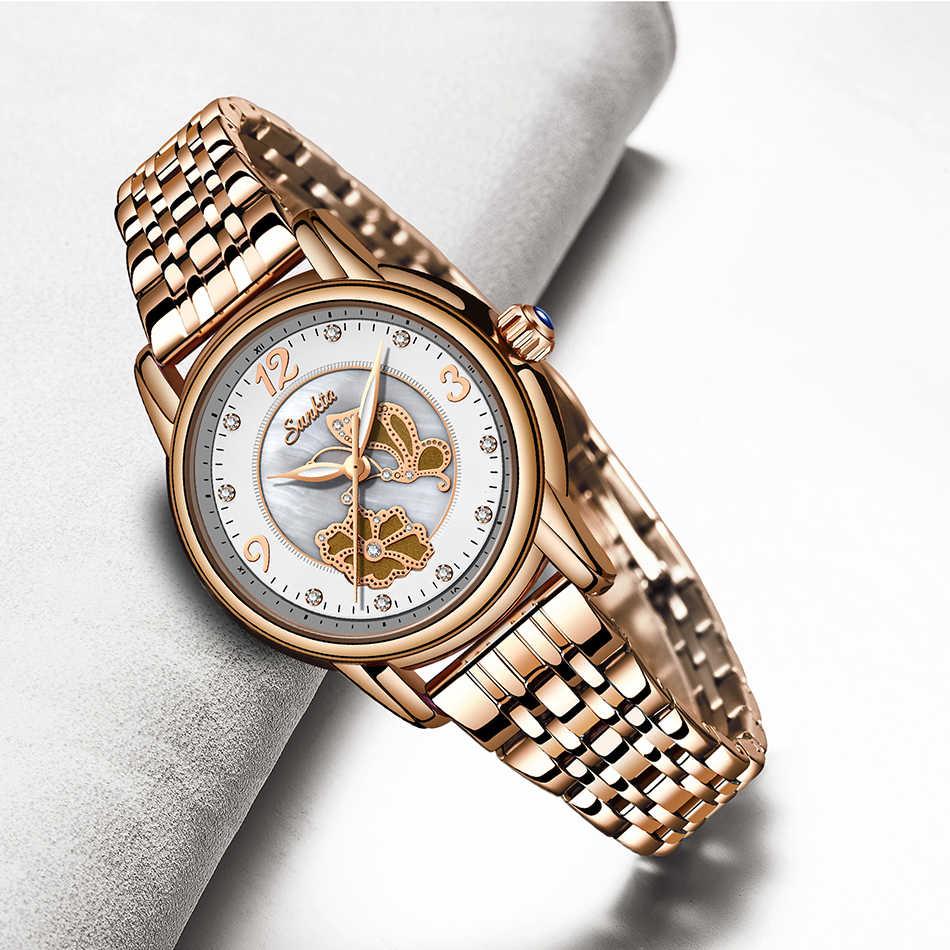 Sunkta senhoras elegantes relógios femininos de luxo superior marca relógio de pulso mulher banda de aço inoxidável vestido feminino relógio relogio feminino