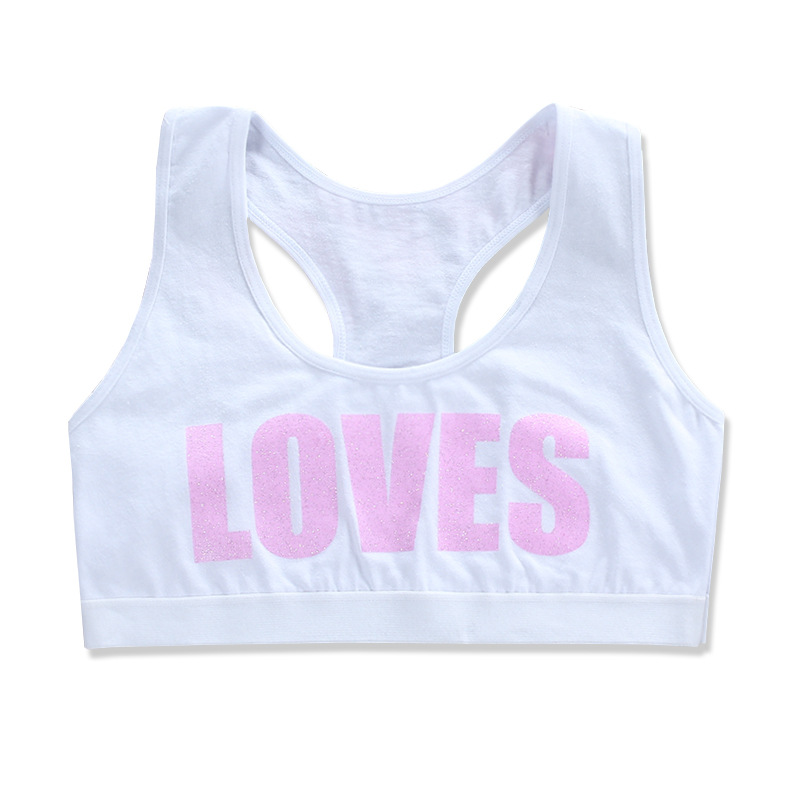 Kids Girl Cotton Sport Training Bra Letter Print Solid Colort Teenage  Underwear Wireless Cotton Bralette Crop Top Small Vest 6