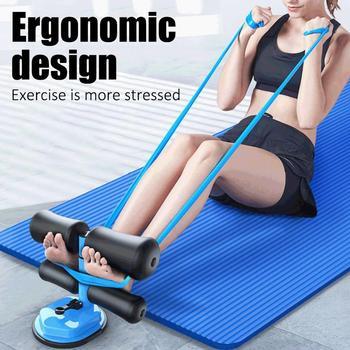 Fitness chicle 4 tubo bandas elásticas de resistencia de Sit-up SIDA equipo de gimnasia para el hogar fijo pies Yoga Roll-Ejercicio de Presser de succión
