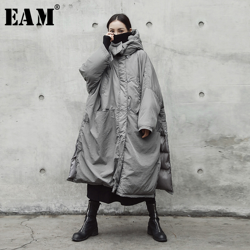 EAM 2019 New Spring Hooded Solid Color Light Gray Thickening Big Size Vent Warm Coat