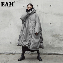 [EAM]  Hooded Cotton-padded Gray Oversize Long Warm Coat Long Sleeve Loose Fit Women Parkas Fashion Spring Autumn 2021 JE02002