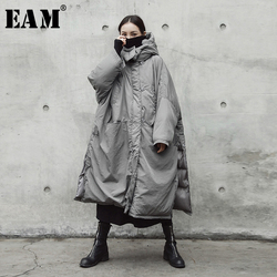 [EAM]  Hooded Cotton-padded Gray Oversize Long Warm Coat Long Sleeve Loose Fit Women Parkas Fashion Autumn Winter 2019 JE02002 1