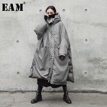 [Eam] JE02002 フードグレー特大ロング暖かいコート長袖ルーズフィット女性パーカーファッション春秋 2020