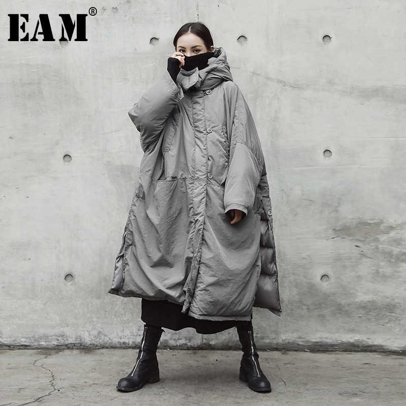 [EAM] 2019 Новинка весны с капюшоном одноцветное цвет светло серый утолщение большой размеры Vent теплый жакет, женский пиджак Мода прилив JE02002