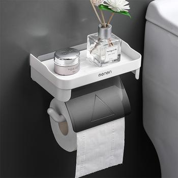 Uchwyt na papier toaletowy uchwyt na papier toaletowy akcesoria łazienkowe stojaki na stojaki samoprzylepne dziurkacz darmowe akcesoria kuchenne na rolkę papieru tanie i dobre opinie CN (pochodzenie) Toilet Paper Holder Gray Blue Green 18*11*12cm
