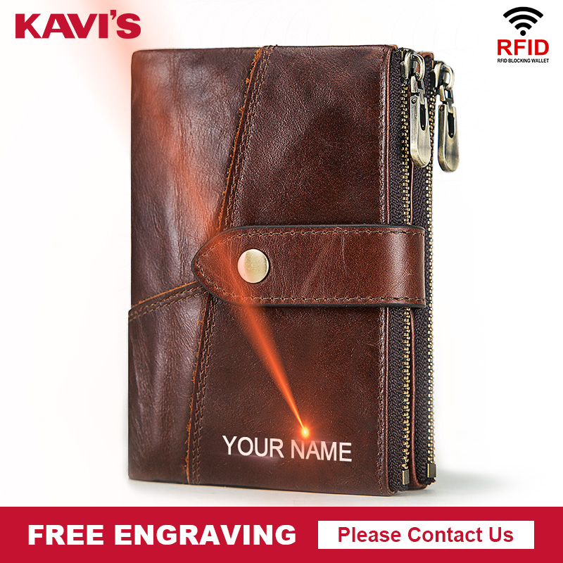 KAVIS Free Engraving Quality Genuine Leather Wallet Men Crazy Horse Wallets Coin Purse Short Male Money Bag Mini Walet Perse