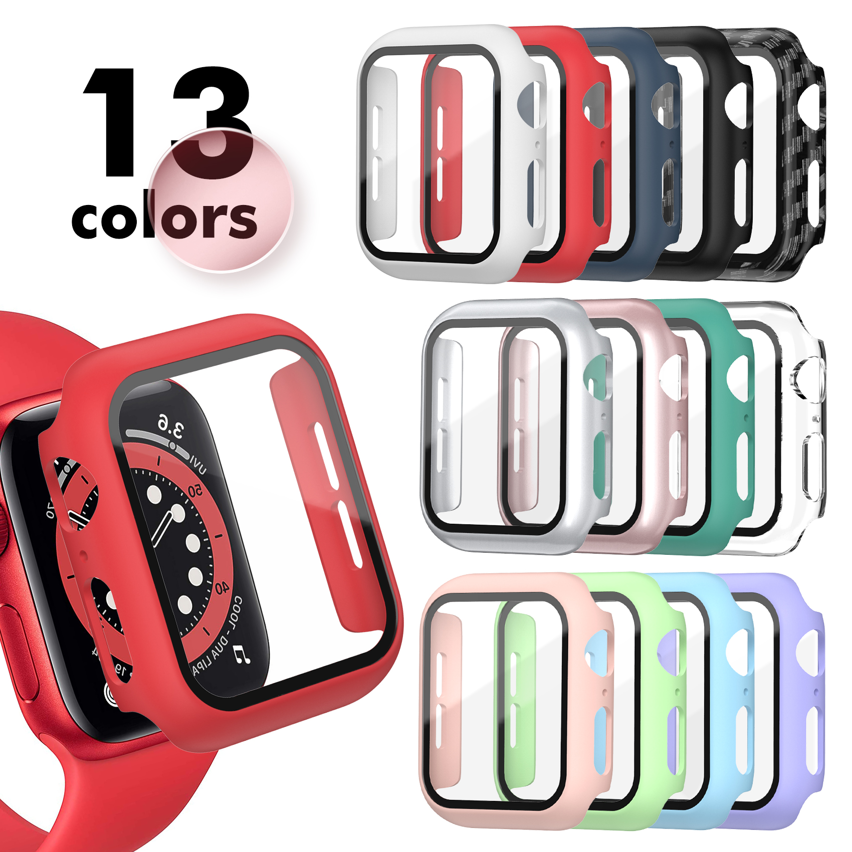 Watch-Cover Bumper Screen-Protector Tempered-Glass Case 44mm 42mm 38mm for Apple 40mm