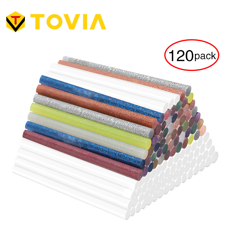 TOVIA 120PCS Glitter 7mm Glue Sticks For Craft Phone Case Colorful Hot Melt Glue Sticks Repair Album Adhesive Stick