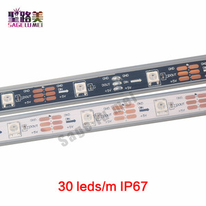 Image 2 - 1m 5m DC5V WS2812B WS2812 Led פיקסל רצועת מיעון בנפרד חכם RGB Led רצועת אור קלטת שחור לבן PCB IP30/65/67