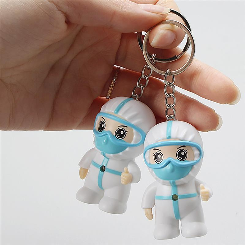 White Angel Keychain Small Exquisite Cartoon Nurse Keyring Pendant With Hook Thanksgiving Present Toy Gifts Creative